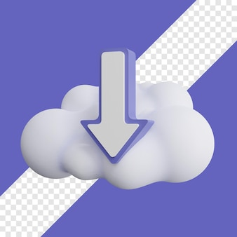 Download icon with cloud 3d illustration