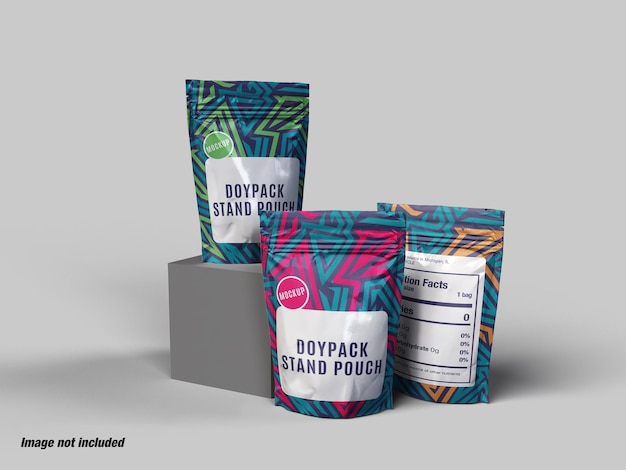 Doypack food container pouch mockup