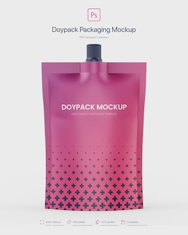 Doypack packaging with top spout mockup