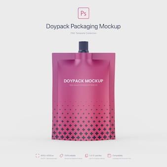 Doypack packaging con top bocca mockup