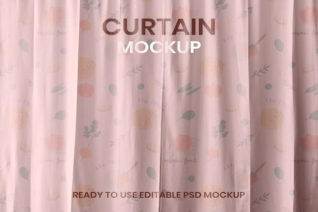 ピンクの花柄のデザインのカーテンモックアップpsd