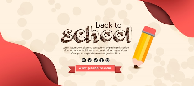 Draw banner back to school with pencil