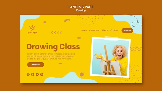 Drawing class landing page design