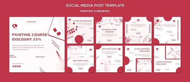 Drawing and painting social media post template