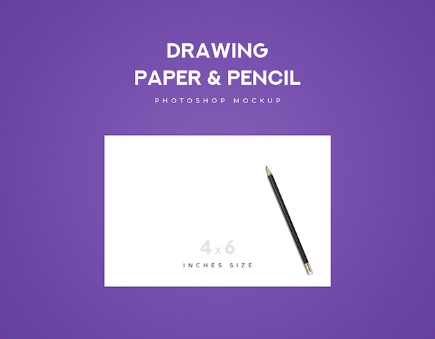 Drawing paper and black pencil on a paper with violet background