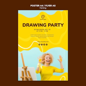 Drawing party poster template