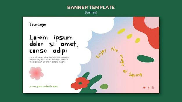 Нарисованный весенний баннер шаблон