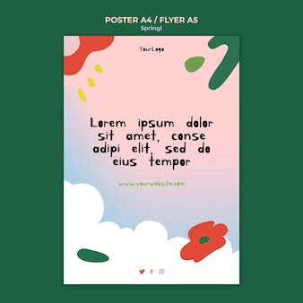 Drawn spring poster template