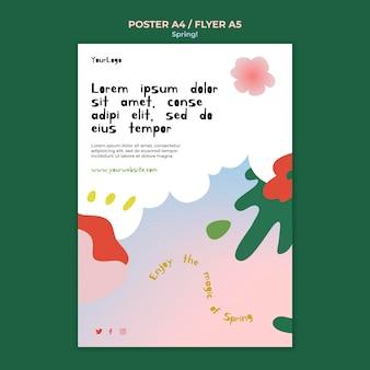 Нарисованный весенний плакат шаблон