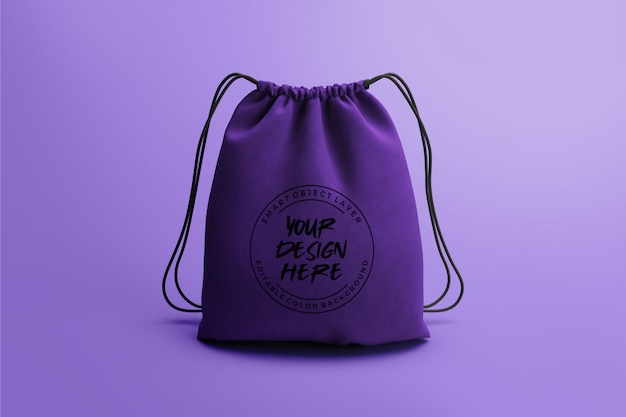 Drawstring bag mockup template