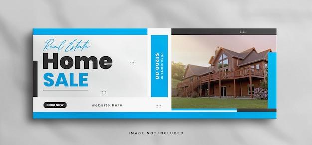 Шаблон обложки facebook для продажи недвижимости в доме мечты с макетом