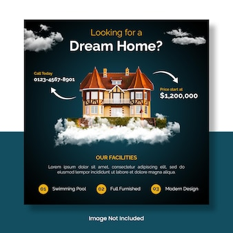 Dream house  for sale instagram feed template banner