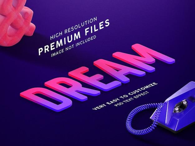 Dream purple red 3d text mockup