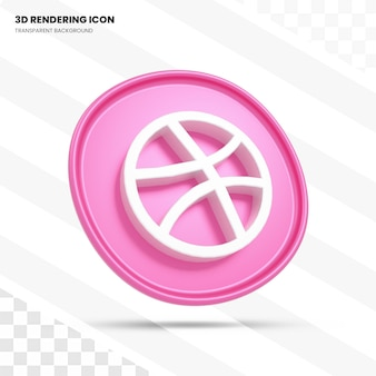 Dribbble 3d rendering icon