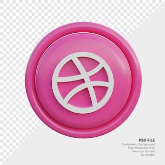 고립 된 라운드에서 드리블 3d 스타일 로고 개념 아이콘