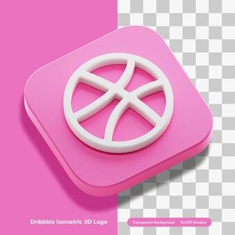 둥근 사각형에 dribbble 앱 계정 3d 렌더링 아이콘 투명 절연