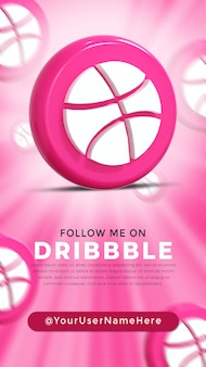 Dribbble glossy logo and social media icons story