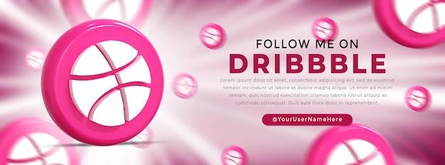 Dribbble glossy logo and social media icons web banner