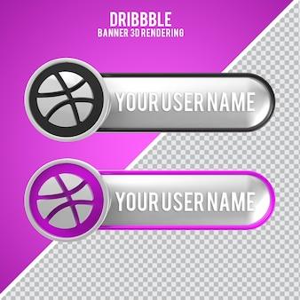 Значок dribbble 3d-рендеринга bann