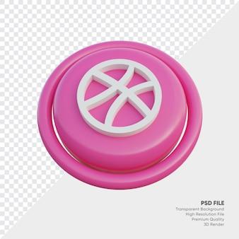 절연 라운드에서 드리블 아이소메트릭 3d 스타일 로고 개념 아이콘