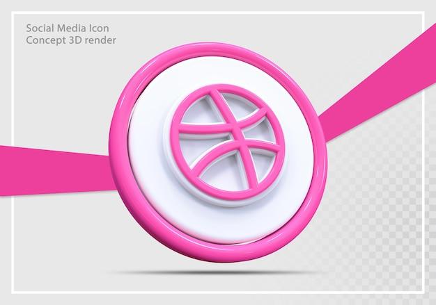 Dribbble 소셜 미디어 아이콘 3d 렌더링 개념