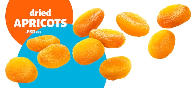 Dried apricots banner, isolated on white
