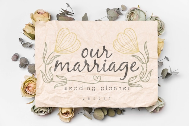 Dried flowers around message mockup