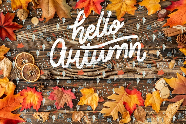 Dried leaves frame and hello autumn text