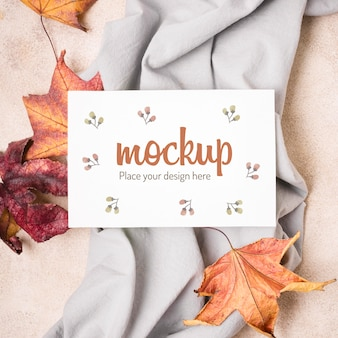Dried leaves on kitchen cloth autumn horizontal mock-up