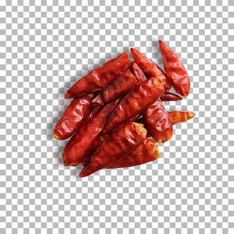 투명한 배경에 격리된 말린 붉은 고추입니다.