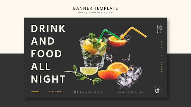 Напиток и еда всю ночь баннер шаблон