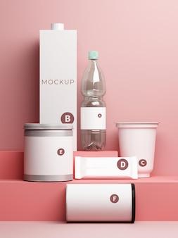 Drink bottle packaging set mockup