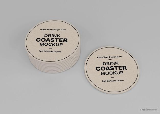 음료 코스터 모형 격리 된 렌더링