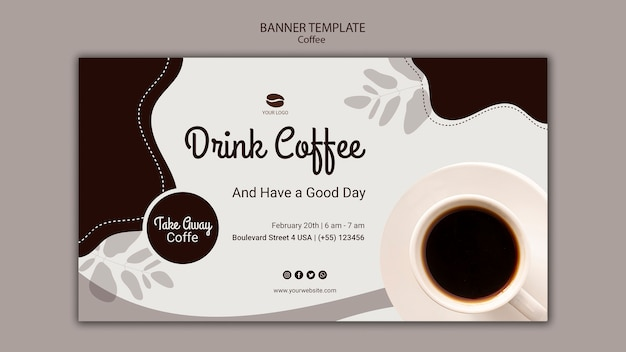 Drink coffee banner template