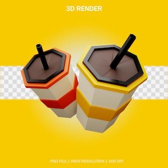 3d 디자인의 투명한 배경을 가진 음료 컵