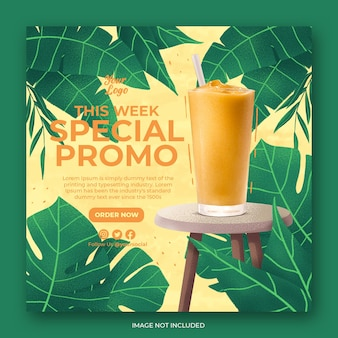 Drink menu promotion social media instagram post banner template