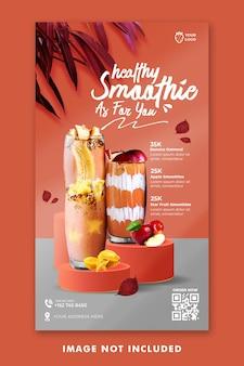 Drink menu social media instagram stories template for restaurant promotion