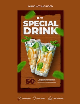 Шаблон поста в социальных сетях для напитков