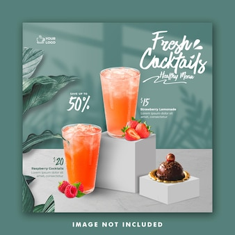 Drink menu social media post template for promotion restaurant