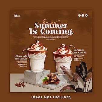 Drink menu summer template social media post banner