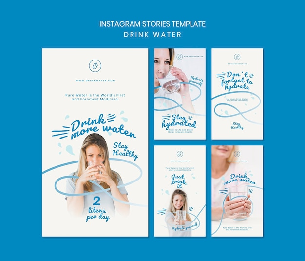 Drink water concept instagram stories template