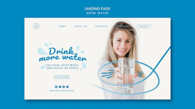 Drink water concept landing page template