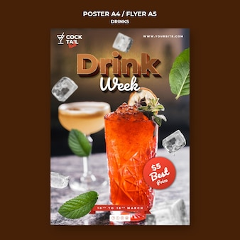 Drink week event poster template