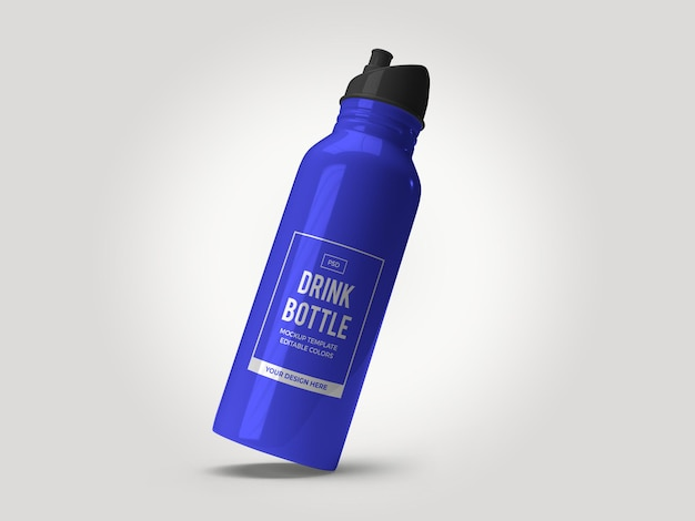 Drinking bottle flask mockup template isolated