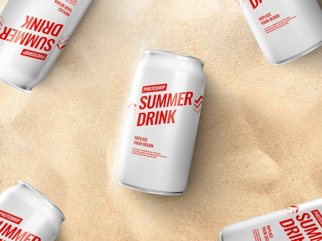 Реалистичный макет банки для питья