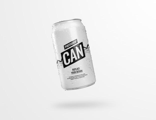 Drinking can soda mockup