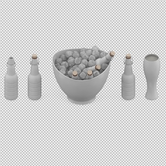 Drinks in 3d isolated render