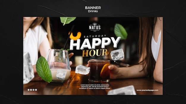 Drinks concept banner template