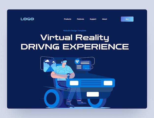 Игра про вождение с шаблоном веб-сайта виртуальной реальности