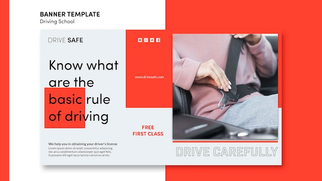 Driving school banner template